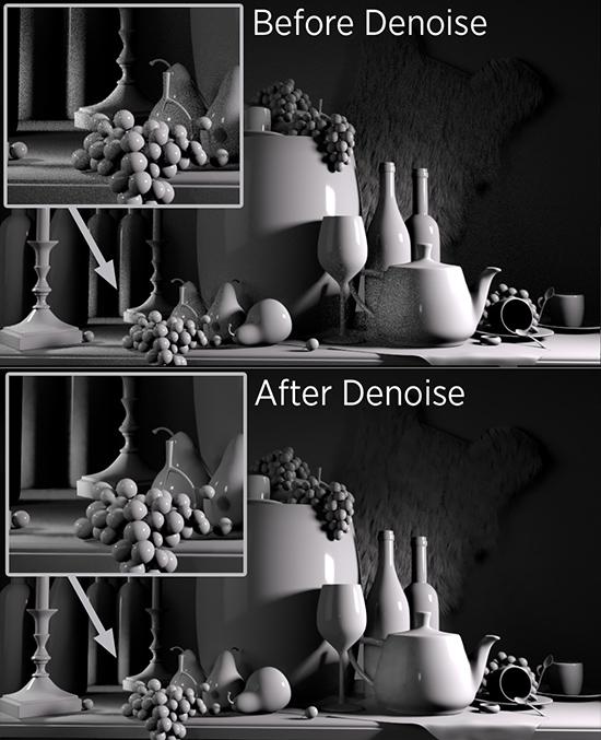 使用denoise可以快速用較少的sample的產生影像