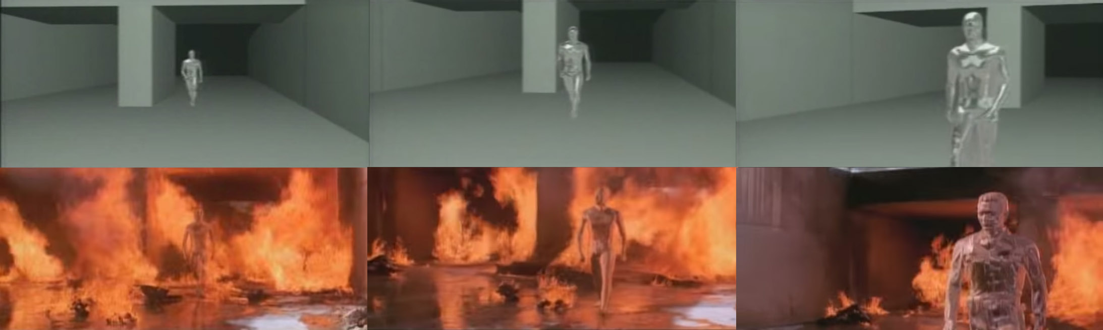 T1000 animation in fire